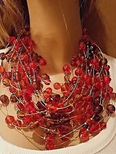 Massive 1972 Vtg GUCCI Italy Red Cherry Poured Glass Cabochon NECKLACE Signed
