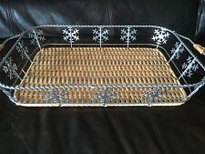 Basket for 3 QT Pyrex Glassware Christmas Snow Flake Serve Ware Decor Kitchen