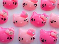 95! Hello Kitty With Gem & Cherry Pink Flatback Resin Embellishments - 16MM/0.6""