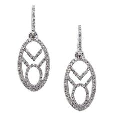 .22CT 14kt White gold Modern Art Deco Dangle Diamond Earrings