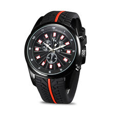 V6 Men Sport Quartz Wrist Watch Tire Style Red Line Black Silicone Band Watches