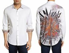 NWT $248 ROBERT GRAHAM Volcanic Rock Print Classic Fit Shirt in White Size  M