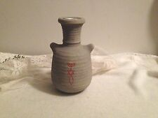 CHRISTIAN FISH/STAR RELIGIOUS SYMBOLIZED GREY CLAY POT CANDLE HOLDER/VASE