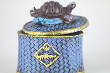 TURTLE TRINKET BOX with Blue Turtle & Basket Decoration,  Present or Gift