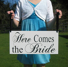 Here comes the Bride and they Wedding Flower Girl Signs Decorations Photo Props