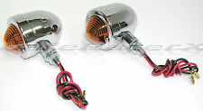 Motorcycle Chrome with Amber & Red Lens Bullet Turn Signal Lights Harley HD