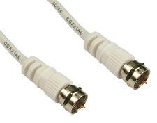 SHORT 0.5m Coax F Screw Plug SKY SAT CABLE Coaxial PAL DIGITAL TV 75 ohm WHITE