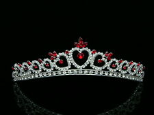 Bridal Red Rhinestone Crystal Heart Wedding Prom Princess Tiara 8371