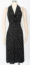 Evan Picone Black White Polka Dot Dress Size 8 Halter Ruched Empire Waist *