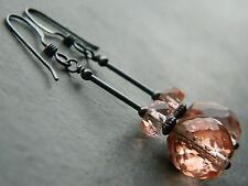 Art Deco Pale Pink Faceted Depression Glass Beads & Oxidised 925 Silver Earrings