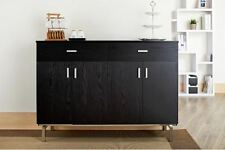 Buffet Table With Wine Rack Sideboard Dining Room Server Black Storage Cabinet