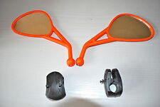 PAIR OF ORANGE MIRRORS TO FIT KTM ENDURO SE EXC XCF HANDLEBAR CLAMP TYPE