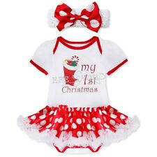 My 1st Christmas Baby Infant Girls Romper Xmas Stock Printed Costume Dress 0-3M