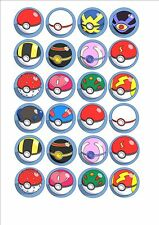 Pokemon Mixed Pokeball Fairy cup cake decoration toppers x 24 on ICING