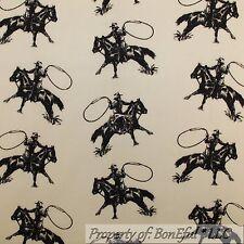 BonEful Fabric FQ Cotton Quilt Yellow Black Horse Cowboy Lasso Rope VTG Stripe