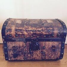 ANTIQUE 19th Century Leather Steamer Trunk 1860 Journey To Seattle