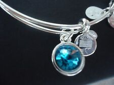 Alex and Ani DECEMBER Birthstone BLUE ZIRCON Silver Charm Bangle NWT Card & Box