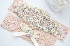 BLUSH PINK SALE Crystal pearl Wedding Garter Set, Stretch Lace Garter, Rhineston
