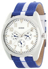 GUESS Mens White Dial Dark Blue and White Fabric Strap Watch W80060G3