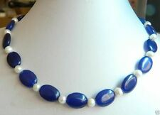 Beautiful 13x18mm Natural Oval Sapphire Blue Jade & White Pearl Necklace 18''