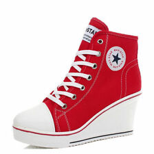 Popular Shoes Canvas High Top Wedge Heel Lace Up Fashion Sneakers US 6-9 Girl