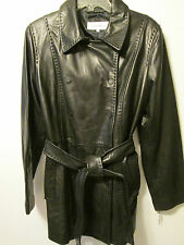 Calvin Klein Designer 100% Leather Black Double Breasted Long Jacket Coat  L NWT