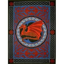 BED SPREAD: CELTIC DRAGON Wicca Pagan Witch Goth Hippie ALTAR CLOTH WALL HANGING
