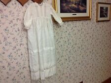 """Vintage Christening Gown with Lace and Crochet 37.5"""" long Beautiful!"""