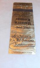 VINTAGE RARE WEICHMAN'S ALL SEASONS RESTAURANT MATCHBOOK COVER OLD MOBILE AL.