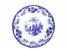 """Antique 19thc English flow blue white salad plate Scinde J G Alcock 8-3/8"""" as is"""