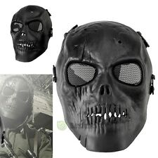 Skull Skeleton Full Face Mask Tactical Paintball Airsoft Protect Safety Black