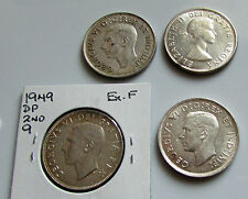 Canada 50 Cents  1940 1947 Curved 7 1949 Double Punch 1958 Dot  Silver Lot Of 4