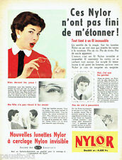 PUBLICITE ADVERTISING 036 1956  Nylor lunettes cerclage invisible