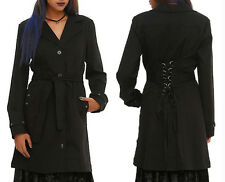 New Womens XL ROYAL BONES by TRIPP NYC Black Grommet Lace-Up Trench Coat TC1632