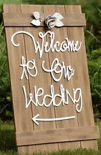"""Large wooden wedding sign """"Welcome To Our Wedding"""" Words In White Metalwork"""