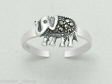 925 Sterling Silver Marcasite Elephant Design Toe Ring Adjustable Jewellery