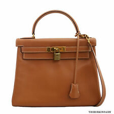 AUTHENTIC HERMES Natural Chamonix 28cm Retourne Kelly Bag w/ Gold Hardware