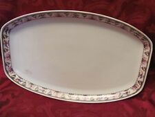 """Edelstein Bavaria oblong platter 1930's Pat.1261 fruit flowers birds 15"""""""