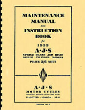 AJS ~ 1953 Single Cylinder ~ Maintenace Manual & Instruction Book ~ Reprnt