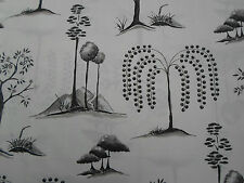 Sanderson Curtain Fabric 'Willow Tree' 3.3 METRES Charcoal/Ivory 100% Cotton