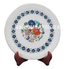 "9"" Marble Round Dish Plate Marquetry Lapis Inlay Floral Art Decor Gifts H2551"