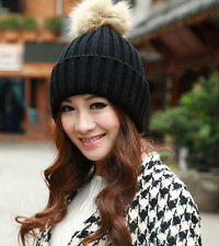 Ladies Winter Warm Wool Knit Crochet Raccoon Fur Beanie Pom Bobble Ski Hat Cap