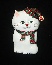 White CAT Pin Hat Scarf Red Green Eyes Brooch Crystal Accent New Christmas