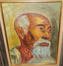 VIE ROBINSON CHINESE MAN WITH WHITE BEARD ORIGINAL OIL ON BOARD PAINTING 1969