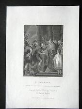 GRAVURE ANCIENNE 19e - SAINT AMBROSE REFUSANT L'ENTREE DE L'EGLISE A THEODOSIUS