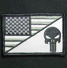 PUNISHER SKULL USA AMERICAN FLAG ARMY MORALE TACTICAL SWAT OPS VELCRO PATCH