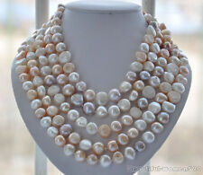 LONG 14mm white pink lavender baroque FRESHWATER pearl necklace 100inch