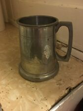 English Pewter Half Pint Tankard Old Country Rose, Hand Hammered