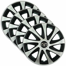 "Hub Caps 14"" TOYOTA Yaris Corolla Aygo 4x Wheel Trim Cover SILVER+BLACK DRACO"