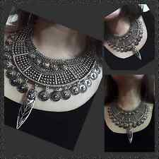 Vintage Statement Chunky Fashion Necklace Silver Plated & Turquoise Blue Stones